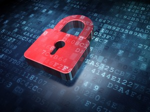 Privacy concept: Red Closed Padlock on digital background